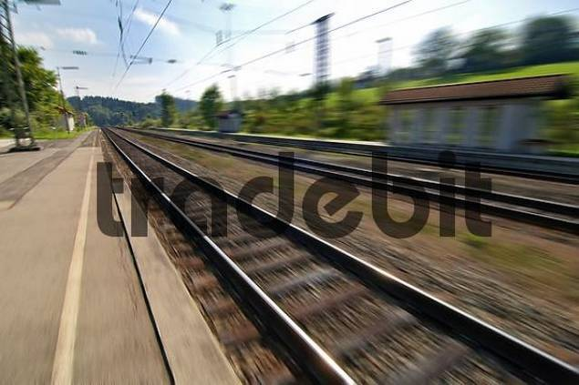 Product picture train station and tracks of Assling Upper Bavaria Germany