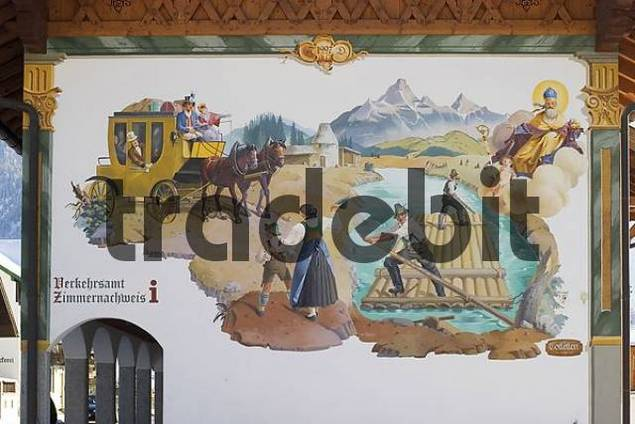 Product picture mural painting at town hall in Wallgau - Upper Bavaria