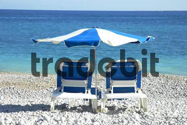 Product picture deck chairs at the beach of Albir, Altea, Costa Blanca, Spain