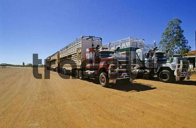 Product picture two roadtrains on a dirt road in Western Australia