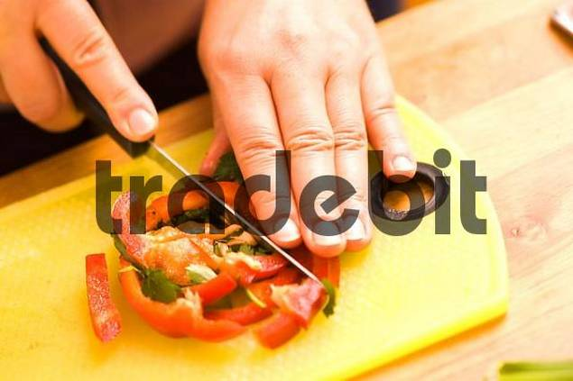 Product picture cutting paprika pepper
