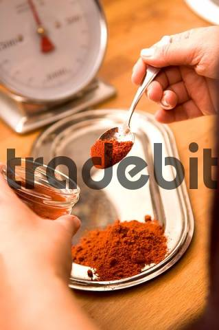 Product picture red pepper spice parika powder kitchen weighing scalea