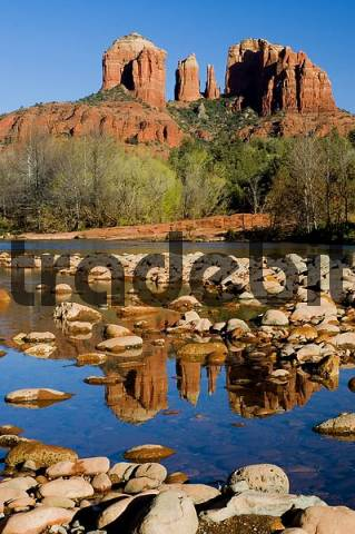 Product picture reflection of the Cathedral Rocks in Oak Creek at Redrock Crossing Arizona USA