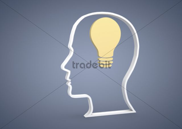Product picture Head with a light bulb symbol, symbolic image for ideas, inspiration, 3D illustration