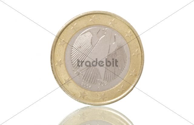 Product picture German euro coin, on slope, symbolic image for euro crisis